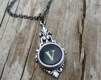 Letter V  Typewriter Key  Necklace