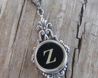Letter Z  Vintage Typewriter Key  Drop Necklace