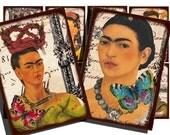 Frida Kahlo art cards, vintage printable digital collage sheet 1511.