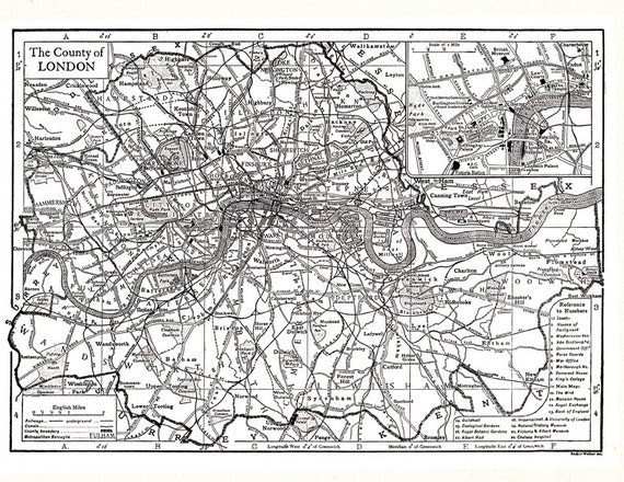 map of London, unique gift or home decor, vintage printable digital download no. 602