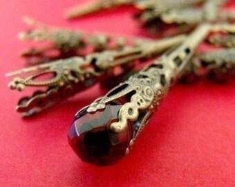 Wholesale 100pcs 42mm Antique Bronze Filigree Cone Bead Caps A033