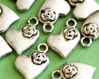 Clearance 50pcs Antique Silver Heart with Rose Pendants Z40251Y