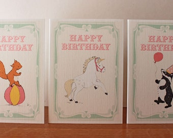 Birthday Card - Fun of the Fair - Choose from Unicorn, Badger or Squirrel
