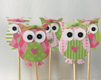 Pink and green owl cupcake toppers