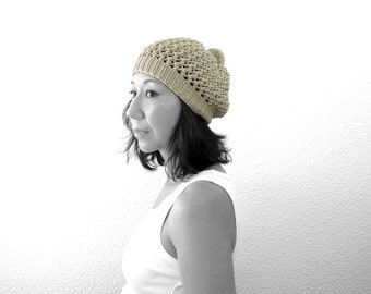 Merino PomPom Lace Slouch Hat. Hand Knit. Stone Beige. Boho / Romantic. Spring / Fall / Winter Fashion. Handmade in France.