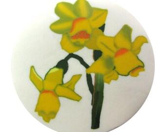 """Polymer clay milefiore canes. Unique milefiore 1"""" wide. Yellow daffodil"""