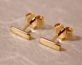 7mm x 2mm 18k Earrings Modern Jewelry Yellow Gold Bar Stud Earrings by SARANTOS