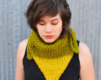 Citron and Lime Green Wool Blend Triangle Scarf