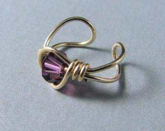 Ear Cuff 14k Gold Filled purple amethyst swarovski crystal earring wrap jacket february birthday
