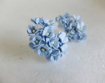 Paper flowers - 20 15mm blue mulberry paper hydrangea - blue paper flower - 1.5cm paper hydrangea - blue hydrangea