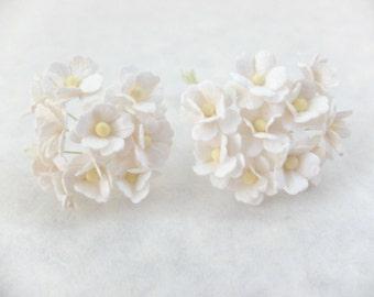 20 white mulberry paper hydrangea - white paper flowers - mini hydrangea - white paper hydrangea