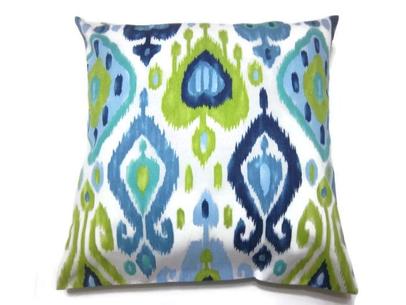 Decorative Pillow Cover Navy Blue Chartreuse Powder Blue