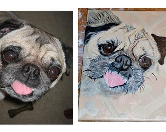 Custom Hand Painted Pet Portrait of your dog or cat on canvas