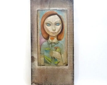 Big Eyed Girl Painting by Leon Dusso