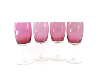 SUMMER SALE Modernist Rose Colored Wine Glasses  Gorham Rosemist Crystal