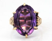 Rose Gold Antique Victorian 7.89ct Amethyst Ring