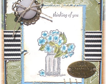 Shabby Chic Thinking of You Note Card, Blank Cards, Sympathy, Get Well Soon