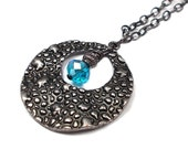 RED TAG CLEARANCE - Plus Size, Cyan Blue and Gunmetal Necklace, Plus Size Jewelry