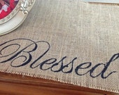 Blessed burlap table runner