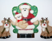 Tear Bear Santa and Two Reindeer Paper Piecing Embellishment for Christmas Sitting on Santa's Lap Photo Scrapbook Page FREE SHIPPING