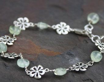 Prehnite Sterling Silver Flower Bracelet