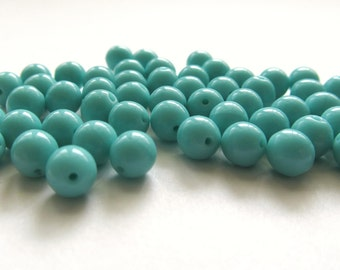 Smooth Opaque Turquoise Blue Round Czech Glass Druk Beads, 6mm - 50 pieces