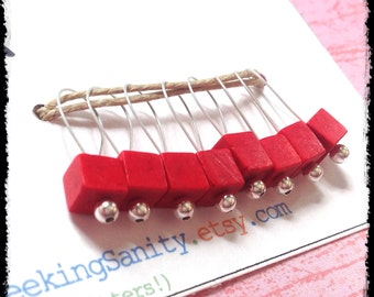 Snag Free Stitch Markers Medium Set of 8 -- Red Stone Cubes -- M37 -- For up to size US 11 (8mm) Knitting Needles