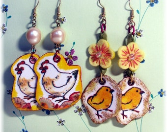 Mixed Media Collage Dangle Earrings Hens and Chicks Two Pairs Poultry Paper Earrings Whimsical Mix and Match