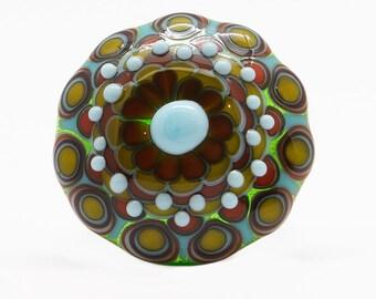 DREAMING - handmade lampwork glass cabochon topper by dora schubert - interchangeable glass topper