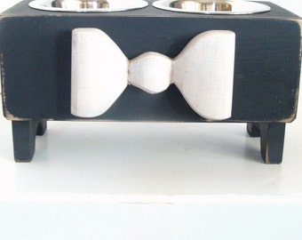 Dog Bowl Holder Feeding Stand Cottage Farmhouse Modern Pet Furniture Black & White Custom