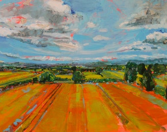 large original abstract mixed media acrylic landscape painting Near and Far by Polly Jones