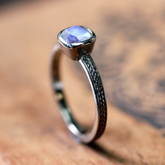 white gold moonstone ring rainbow moonstone engagement ring