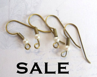 LOW Stock - Brass Earring Hook Findings With Faux Pearl Beads (24 Pairs) (F556) SALE - 50% off