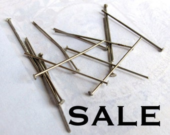 LOW Stock- 2 Sets Left - Rhodium Plated Headpins (20 Grams - approx 250x) (F563) SALE - 50% off