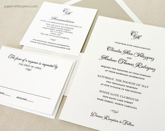 Monogram Wedding Invitations, Classic Script Wedding Invitations, Timeless Wedding Invitations, Classic Wedding Invitations, Script Monogram