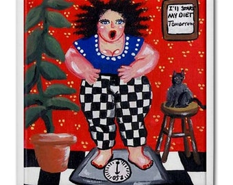 Diet Diva Fun Colorfull Whimsical Folk Art Ceramic Tile