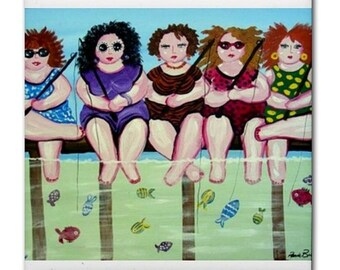 Fishing Divas Fun  Whimsical Folk Art Ceramic Tile