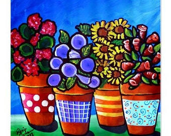 4 Fun Flower Pots Folk Art Whimsical Colorful Bathroom Shower Curtain