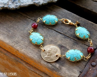 Turquoise, Gemstone and French Coin One of a Kind Bracelet....Gypsy Three