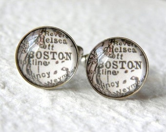Boston Map Cufflinks Cufflink Set - YOU Choose your map from 25 map samples and 9 finishes - Great for Groomsmen - Boston Cufflinks