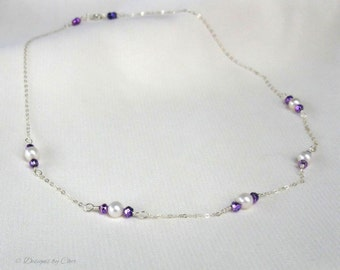 Pyrite Pearl Necklace, Sterling Silver Handmade Necklace, Purple Gemstones Freshwater Pearls, Delicate Jewelry Gift for Her