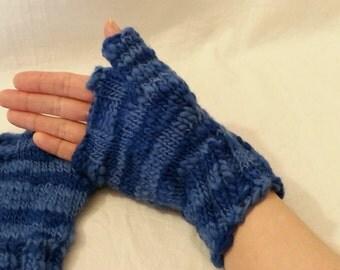 Blue swirly striped wool fingerless gloves