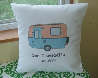 vintage camper decorative throw pillow, personalized  throw pillow cover