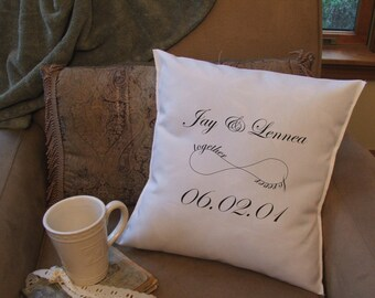 personalized infinity throw pillow cover, custom throw pillow cover, decorative throw pillow cover, together forever