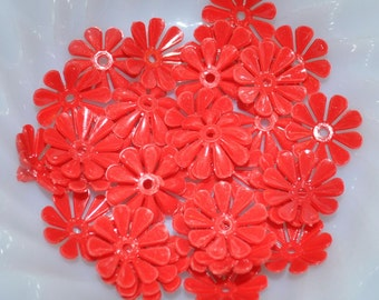Vintage Red Plastic Flowers (14)