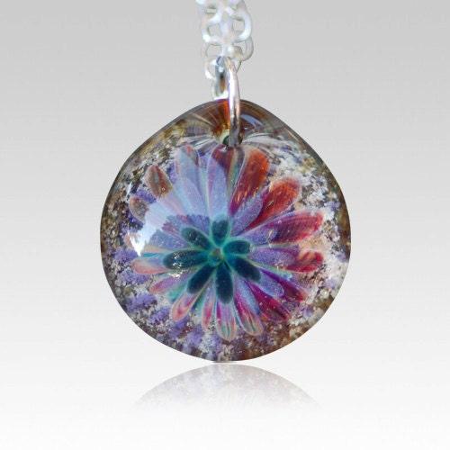memorial ash pendant pet cremation glass flower necklace