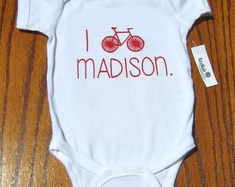 I Bike Madison onesie/toddler tee shirt