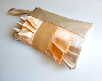 Beige and Peach Ruffled Wristlet