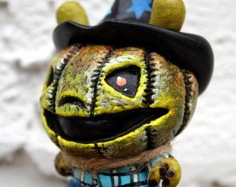 Jack O' Lantern custom scarecrow Dunny character figurine Blue by Bryan Collins