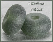 """Frosted Charcoal Grey...""""Sea Glass"""" Spacer Bead Pair...Handmade Lampwork Beads SRA, Made To Order"""